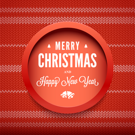 Merry Christmas and Happy New Year message on vector knitted pattern. Christmas related ornaments objects on color background. Ready for your design, website, advertising. Vector Illustration.