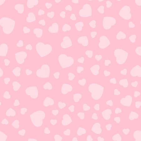 Seamless patterns with pink hearts. Valentines Day. Gift wrap, print, cloth, cute background for a card. Repeating background texture. Fabric design. Ready for your design. Vector Illustration.