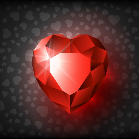 Red Ruby Heart on Happy Valentines Day