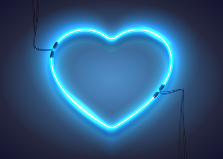 Bright heart. Neon sign. Retro blue neon heart sign on dark background. Design element for Happy Valentines Day. Ready for your design, greeting card, banner. Vector illustration.