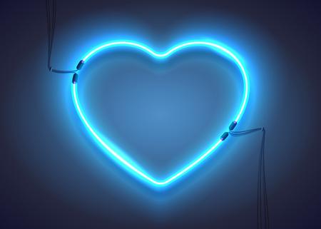 forme: coeur lumineux. Enseigne au néon. Rétro signe cardiaque néon bleu sur fond sombre. élément de conception pour la Saint-Valentin heureuse. Prêt pour votre conception, carte de voeux, bannière. Vector illustration.