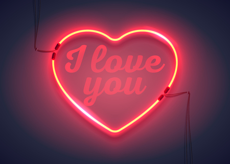 Bright heart. Neon sign. I love you message. Retro neon heart sign on purple background. Design element for Happy Valentines Day. Ready for your design, greeting card, banner. Vector illustration. Illustration
