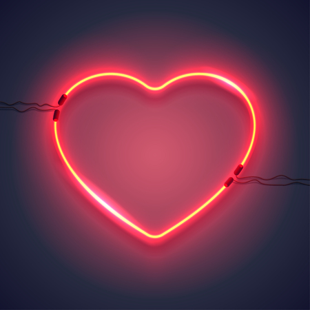 Bright heart. Neon sign. Retro neon heart sign on purple background. Design element for Happy Valentine's Day. Ready for your design, greeting card, banner. Vector illustration. Vettoriali