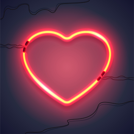 Bright heart. Neon sign. Retro neon heart sign on purple background. Design element for Happy Valentines Day. Ready for your design, greeting card, banner. Vector illustration.