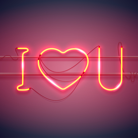 Neon sign, I Love You with heart on dark background with sparks. Design element for Happy Valentines Day. Ready for your design, greeting card, banner. Vector illustration.