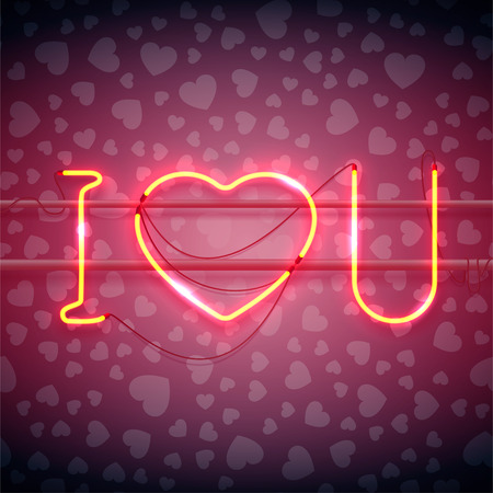 fire wire: Neon sign, I Love You with heart on dark background with heart pattern. Design element for Happy Valentines Day. Ready for your design, greeting card, banner. Vector illustration. Stock Photo