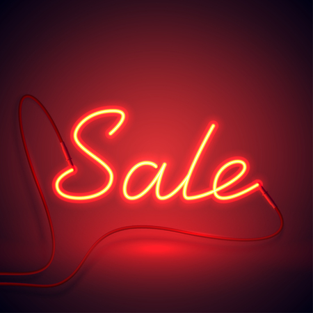 neon sign sale red and orange color-01 Illustration