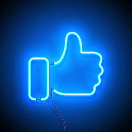 Enseigne au néon. Enseigne au néon rétro Comme sur fond bleu. Prêt pour votre conception, icône, bannière. Illustration vectorielle. Vecteurs