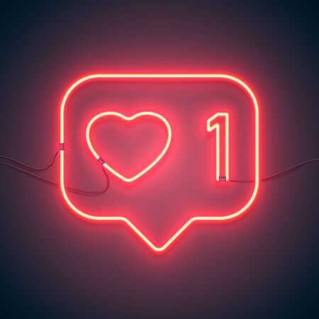Bright heart. Neon sign. Retro neon sign Like 1 on purple background. Ready for your design, icon, banner. Vector illustration.