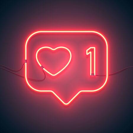Cuore luminoso. Insegna al neon. Insegna al neon retrò come 1 su sfondo viola. Pronto per il tuo design, icona, banner. Illustrazione vettoriale.