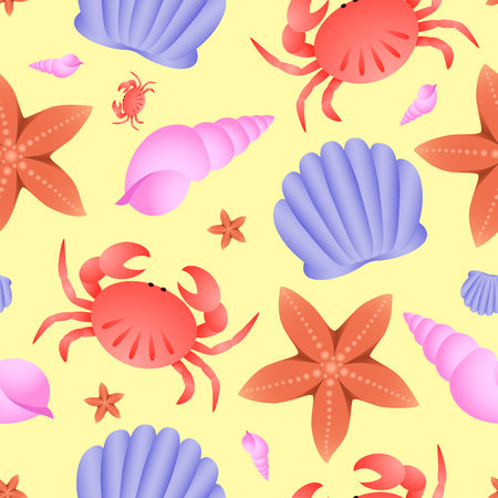 Vector seamless sea theme pattern. Crab, fish star and shell on yellow background Illustration