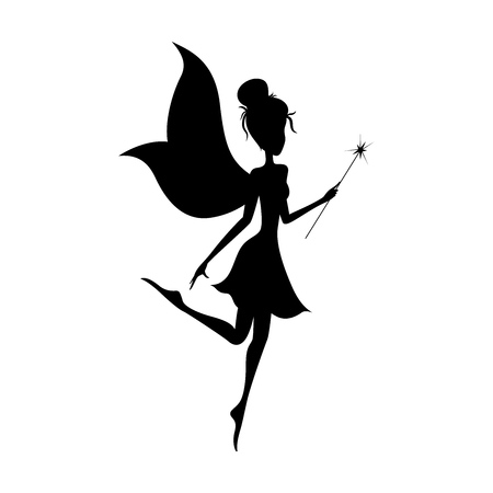 Silhouette of magical fairy with her wand on white background