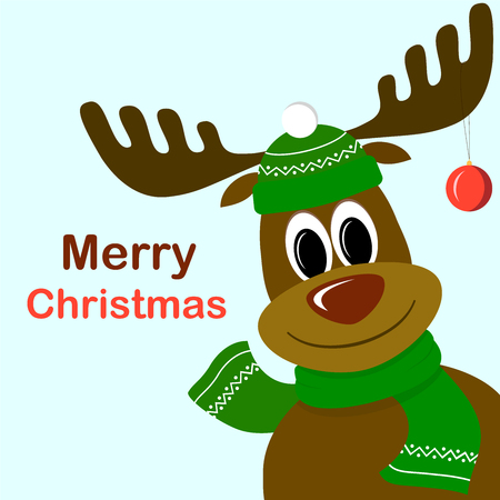 Cute cartoon deer with christmas ball on antlers