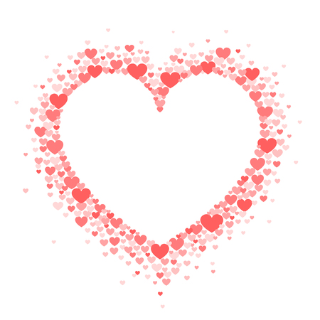 Frame of coral hearts in the shape of a hart. Vector Valentine's day greeting card or wedding invitation