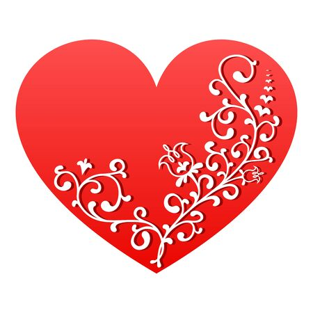 Red heart with white floral ornament. Vector Valentine symbol