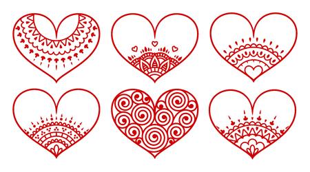 Set of red decorated hearts with ornament on white background. Valentine's day symbol Ilustração Vetorial