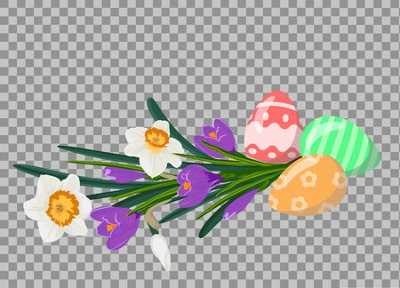 Easter eggs with bouquet of white daffodils and violet crocuces. Easter still life. Vector illustration 向量圖像