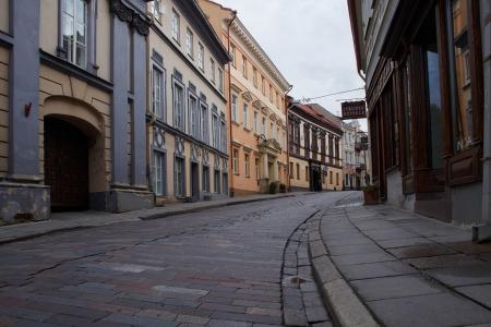 Vilnius, Lithuania,02 June 2012,evening. Old street of Vilnius