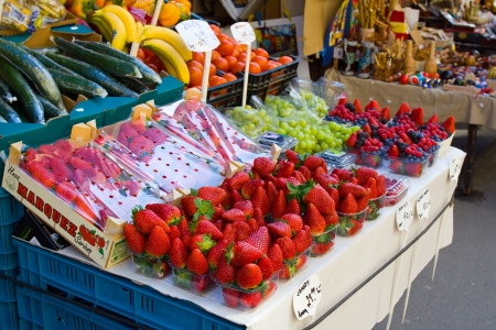 Prague, the Czech Republic, tray with strawberry in the Carbon market. Editorial