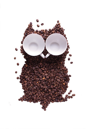 The owl who has been laid out from grains of coffee, with eyes from coffee cups