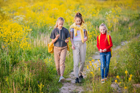A group of girls walking in the evening with backpacks in nature against the background of a flowering meadow, steppe, active healthy lifestyle Stock Photo