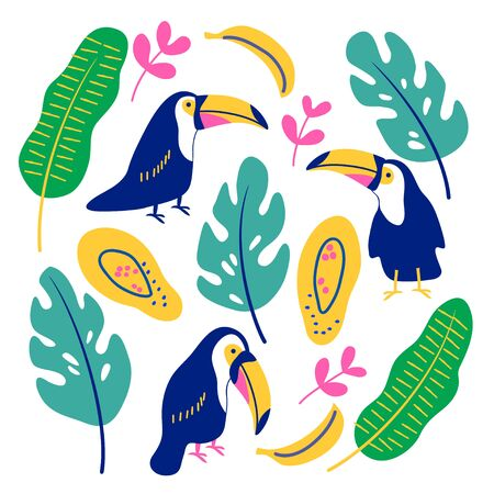 vector toucan bird tropical leaf palm fruit element set on white childish simple  cute pattern for you design paper for kids
