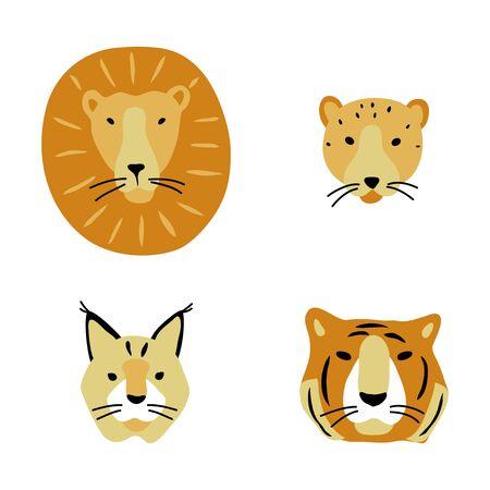 vector color yellow lion tiger cheetah lynx head set  big cat animal simple doodle scandinavian style childish for your paper textile design 일러스트
