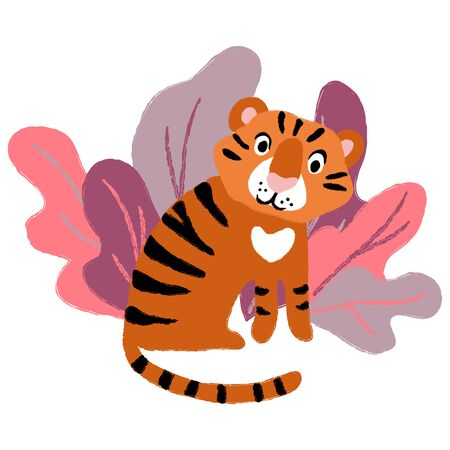 vector tiger cub baby wild animal in leaves cartoon cute childish card textile paper design