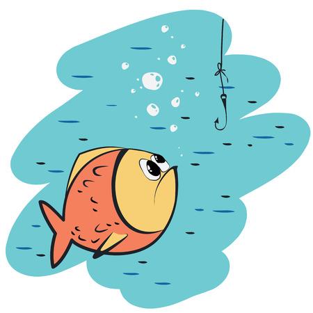 delito: peces vector y el gancho Vectores