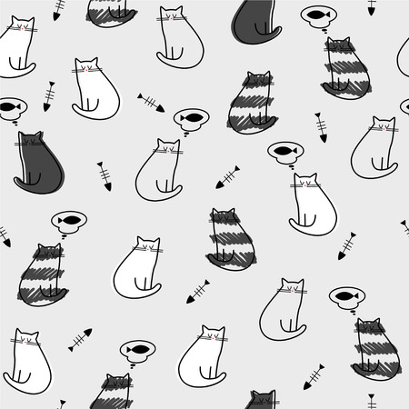 whiskers: vector, illustration, seamless, pattern, texture, background, wallpaper, cat, fish, bone, dream, gray, red, white, stripes, whiskers, nose