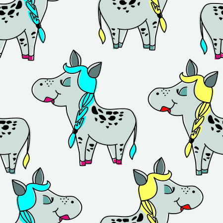 horse blonde: vector, seamless, horse, pony, donkey, girl, spit, gray, yellow, gray, blonde, spit, hair, cartoon