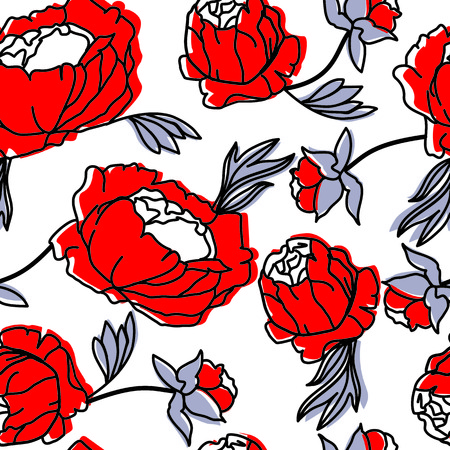 red line: vector, seamless, pattern, drawing, flower, bouquet, red, coral, purple, leaf, loop, bud, petal, beautiful