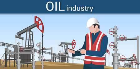 Engineer controlling the process of oil production using a tablet Illustration