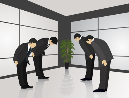 Eastern traditions. Japanese custom of greeting with a bow Illustration