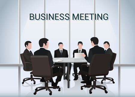 Business meeting.A group of businessmen is negotiating round the table