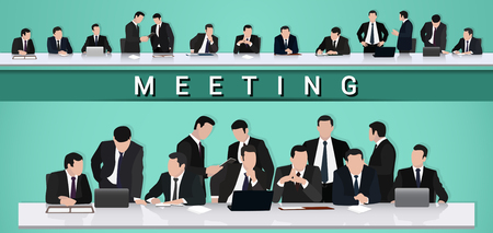 Business meeting.A group of businessmen is negotiating at the table Иллюстрация