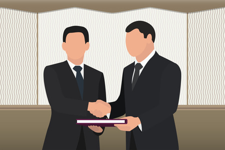 A successful deal. Two men shake hands