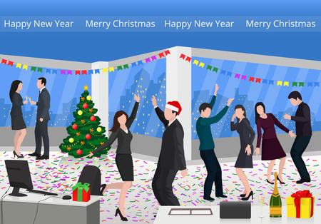 Christmas party. Dancing men and women in the office