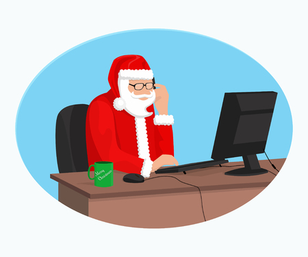 Modern Santa Claus is working at the computer Vectores