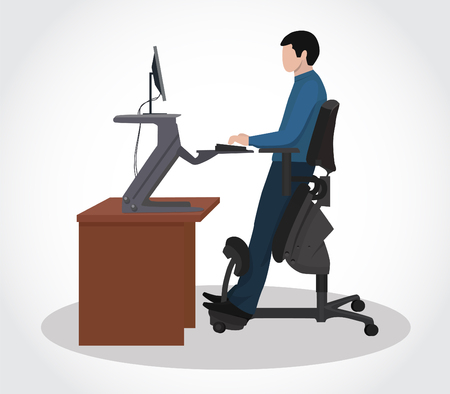 A man working at a computer in an ergonomic chair