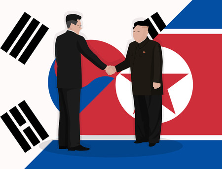 Handshake of leaders of states against the background of state flags 일러스트