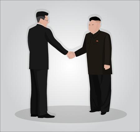 Handshake of leaders of North Korea and South Korea Together