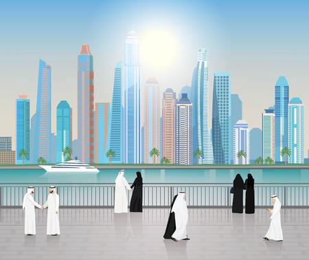 Arab men and women walking along the embankment in Dubai City landscape