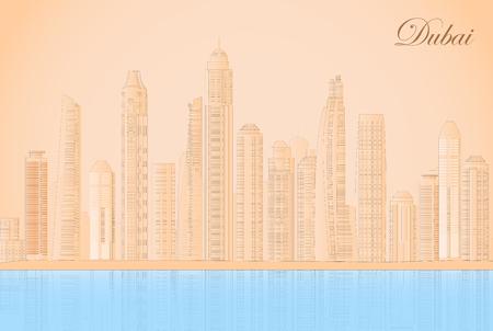United Arab Emirates Dubai Cityscapes. 向量圖像