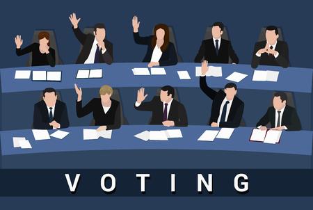 Votazione Mani alzate di uomini d'affari e
