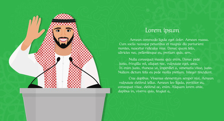 Arab man speaking from the a platform Stock Illustratie