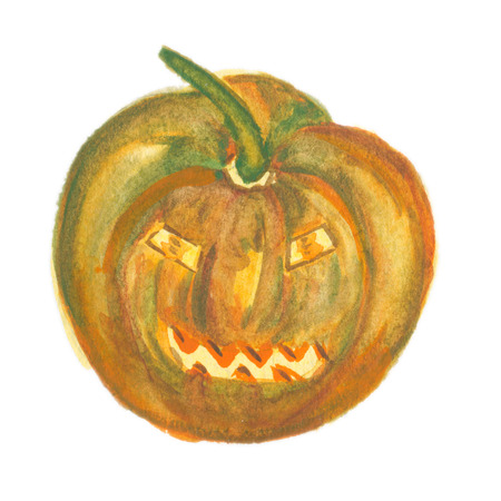 Scary pumpkin isolated on white. Watercolor illustration Stock Photo