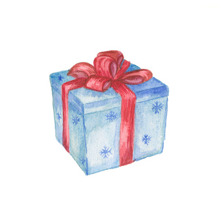 red gift box: Blue christmas gift box with red bow