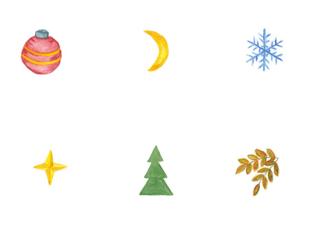 Set of Christmas and New Years decoration elements isolated on a white background.