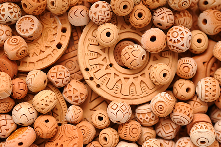 Handmade Ethnic Clay Beads Jewelry European European Celtic ethnic beads in macro of clay. Handmade jewelry background. photo Image